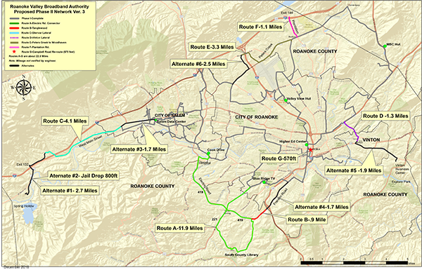 Roanoke Valley Broadband Authority Proposed Phase II Network Ver. 3 map